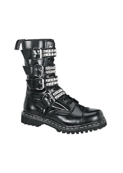GRAVEL-10S Black Leather Boots - gothic boots :  leather boot boots
