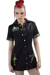 Death Rock Tartan Shirt Dress, Price: $68.25, Gothic dresses, Category...